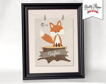 Personalized Woodland Nursery Wall Art // Gender Neutral, Baby Girl, Baby Boy // Printable Fox Decor / Custom Digital Artwork BS01 BS02 BS03