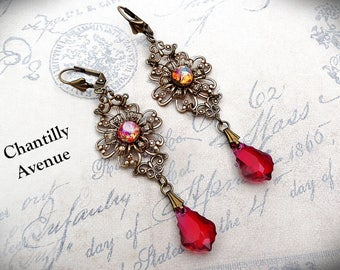 Pink Opal Victorian Earrings Vintage Style Jewelry Handmade Swarovski Crystal Ruby Art Nouveau Earrings Long Dangle Rhinestone
