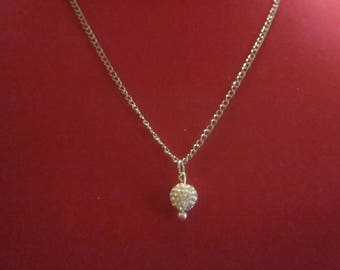 Clear & white Disco Ball Necklace