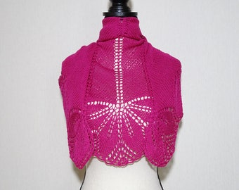 Hand Knitted Lace Haruni Shawl, pink shawl, pink bambbo/cotton lace shawl, fuchsia shawl, summer shawl, scarf, kerchief, gift for her