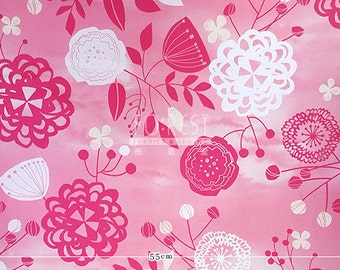 Cosmo oxford - Pink water colour flower fabric -50cm