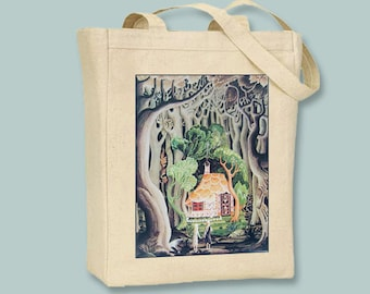 Vintage Hansel and Gretel Illustration Natural or Black Canvas Tote  - other sizes available