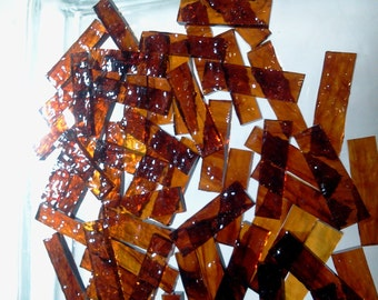 BORDERS ROOT BEER Granite Texture Dark Amber Stained Glass Tile J5