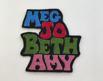 Little Women Meg Jo Beth Amy names embroidered patch applique sisters literature girls book Louisa May Alcott