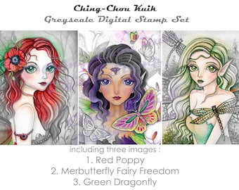 Fantasy Fairy Set 1- Greyscale PRINTABLE Instant Download Digital Stamp/ Butterfly Dragonfly Flower Girl Art by Ching-Chou Kuik