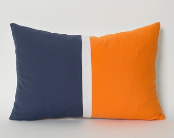 Navy Blue Orange White Linen Color Block Solid Pillow Cover - CUSTOM SIZE Lumbar Pillows Navy Blue Cushion Orange Dark Blue Pillow Throw