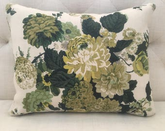Linen Pillow Cover Made from Clarence House Textiles Dahlia Hand Block Print in Green