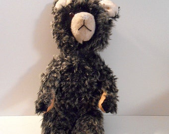"Antique Rare Vintage Teddy Bear, 19"", black and white mixed fur, collector toy, stuffed with straw."