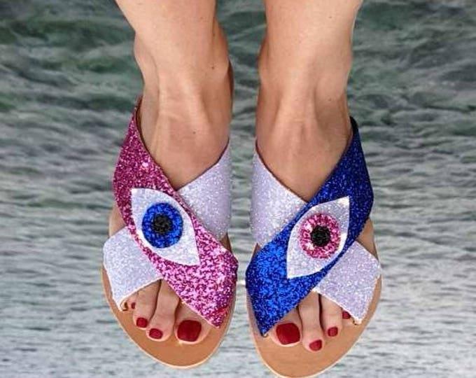 DHL FREE/Greek sandals//evil eye/glitter sandals/leather sandals/summer shoes/boho /women shoes/strappy sandals/gladiator/sparkle sandals