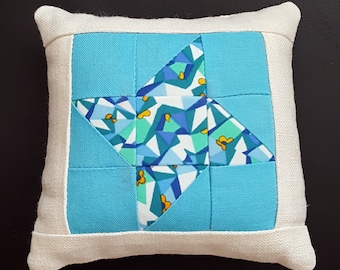 Pincushion, Friendship Star Traditional Block, Patchwork, Star,Sewing, Quilting, Needlework, Gift, Liberty of London Print