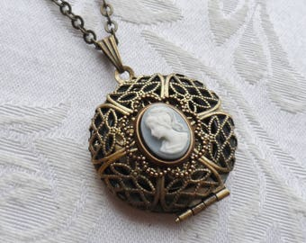 Clearance, Scent Locket Necklace with Blue and White Cameo