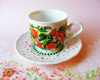 Espresso cup Beautiful good morning Hand painted Fun sweet berry Strawberry Your morning decoration