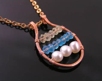Wire Wrapped Aquamarine, Apatite and Pearl Pendant Necklace, Copper Necklace, Apatite Necklace, Handmade Jewelry, Boho Necklace, N1239