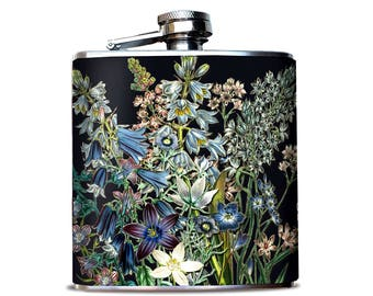 BEST SELLER Whiskey Botanicals Flask, Flask for Bourbon fan, Flask for woman, Gift for daughter, Something blue, Luxury gift for bride