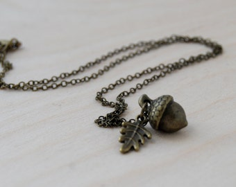 Brass Acorn Charm Necklace   Forest Acorn Charm Necklace   Woodland Nature Jewelry