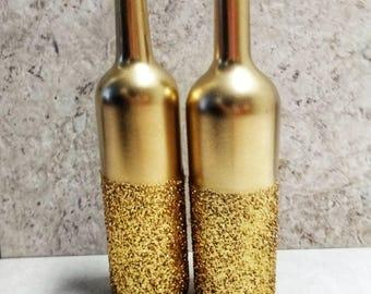Gold Glitter Wine Bottle, Set of 2, Gold Centerpiece, Gold Glitter Bottle, Party Decor, and Wedding Table decor