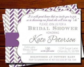 Purple and Gray Bridal Shower Invitation - Modern, Chevron, Color Block, Purple, Gray, Printable, Digital