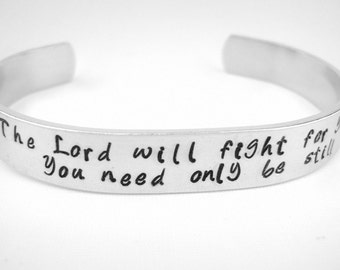 Scripture bracelet, Exodus 14:14 The Lord will fight for you bible verse Christian jewelry, stamped inspirational bracelet gift for women