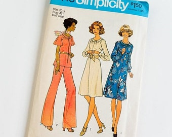 Shop SALE Vintage 1970s Womens Size 20.5 Top and Wide Leg Pants Simplicity Sewing Pattern 7148 FACTORY Folds / b43 w37.5