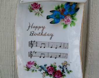 Vintage Porcelain Happy Birthday Music Notes Scroll  Birds Flowers Wall Hanging