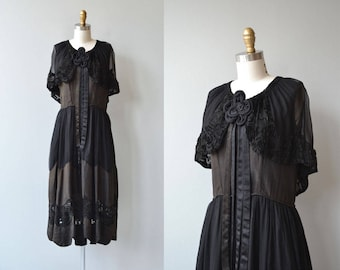 Legacy silk dress |  antique 1920s silk dress | black 20s dress