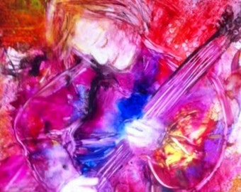 """Colorful Contemporary Fine Art Print of Woman Playing Guitar """"New Song"""""""