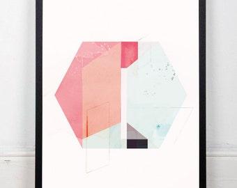Abstract art, Watercolor print, Geometric art, Mid centruy modern, Abstract wall art, Colorful print, Scandinavian print, Modern print