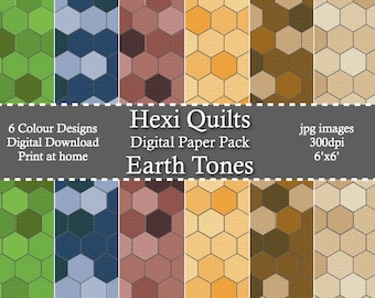 Earth Tone HexiQuilts Digital Patterned Paper Pack