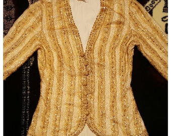 Vintage Gold Beaded Evening Jacket Formal Prom Petite Cardigan Wedding Hollywood Glamour Yellow Beads