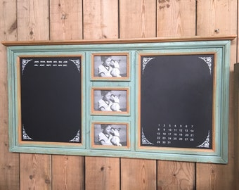 Large Green Blackboard notice Board Photo Frame Shabby Chic Style Calendar