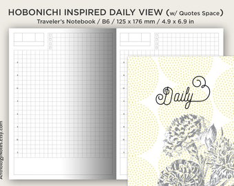 Hobonichi Insert B6 Size - Traveler's Notebook Printable - Do1P - Minimalist - Daily View - With Quotes Section
