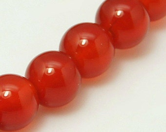 Natural Red Agate Round Gemstone 4mm 6mm 8mm 10mm Loose Beads