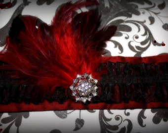 SALE 25% OFF!!! Burlesque Cuff - Vampire Red Feather
