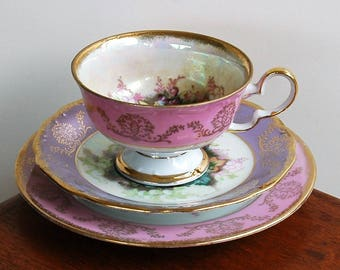 Bone china mixed trio / pink and purple lustre / fruit and flowers / Nathco Chinaware Harmony / very ornate