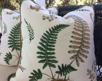 """G.P. And J. Baker Pillow Cover in Green and Brown """"Fern"""" Pattern"""