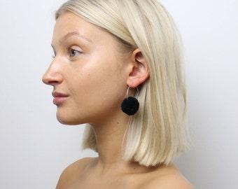 Black Pom Pom Hoop Earrings