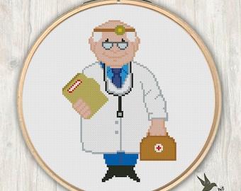Doctor, Modern Cross Stitch Pattern, Needlecraft