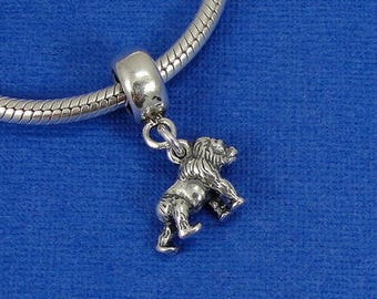 Gorilla European Dangle Bead Charm - Sterling Silver Gorilla Ape Charm for European Bracelet