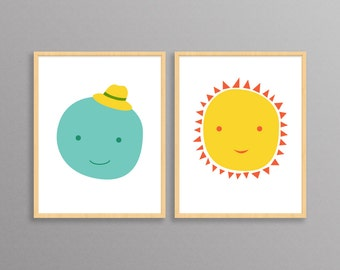 Nursery Prints - Mr. Moon & Ms. Sun - two modern design prints //  8.5x11 or 13x19 // children's room decor