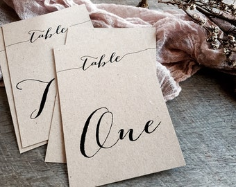 Kraft Table Number Cards, Wedding Table Number Cards, Table Number Cards, Rustic Table Numbers, Eco-Friendly Wedding Stationery