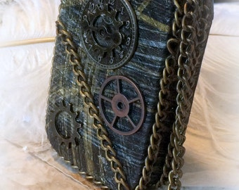 Steam Punk, Steampunk, Credit Card Case, Stash Box,  Change Purse, Costume Accessory, Cosplay Accessory Metal Wallet, Altered Altoid Tin