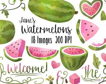 Watermelon Clipart - Watermelon Picnic Download - Instant Download - Faux Watercolor Fruit Items