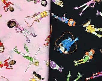 Gymnastics Cotton Quilting Fabric - gymnast/dance [[by the half yard]]