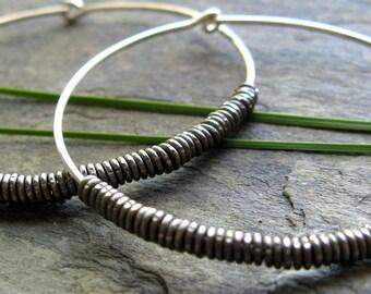 sheathed hoop earrings -- primitive series-- handmade by thebeadedlily