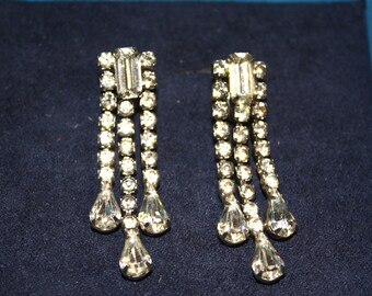 Glass Rhinestone Screw-back Earrings