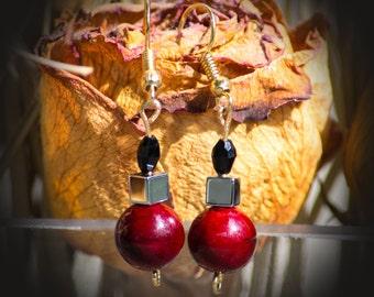 Red Roses - Dangle Earrings