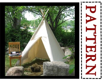 Canvas Teepee Sewing Pattern, Kids Tent, Play Tent Pattern, Easy To Sew Project Instructions, Instant Download Pattern
