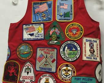 Vintage Scout Vest with 34 Patches