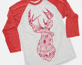 Deer Shirt, Mandala Shirt, Deer Mandala, Deer Raglan,  Mandala Raglan, Glitter Shirt, Raglan Shirt, Raglan Top, Women's Shirt