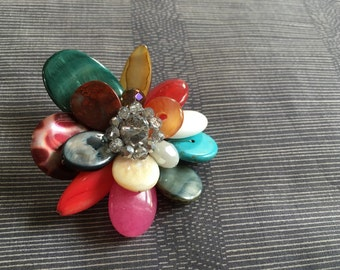 Colorful gems beads brooch.